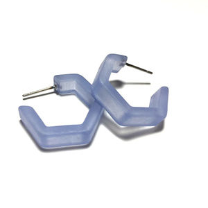 Light Blue Honeycomb Hex Frosted Hoop Earrings